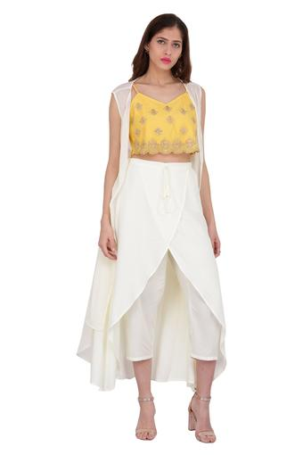 Womens V Neck Zari Embroidered Crop Top Pant and Shrug Set