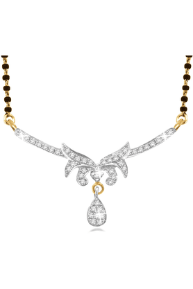 SPARKLES 18Kt Gold Mangalsutra With Diamond Pendant Along With Gold Plated Silver Chain And Black - 7503102