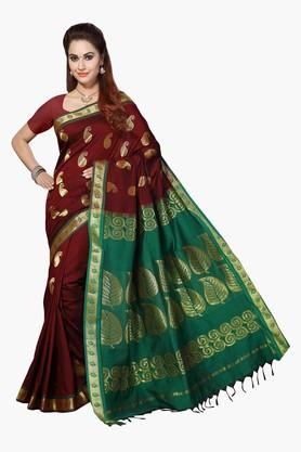 ISHIN Womens Poly Cotton Woven Saree