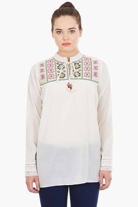 LABEL RITU KUMAR Womens Tie Up Neck Embroidered Slub Tunic  ... - 202194956