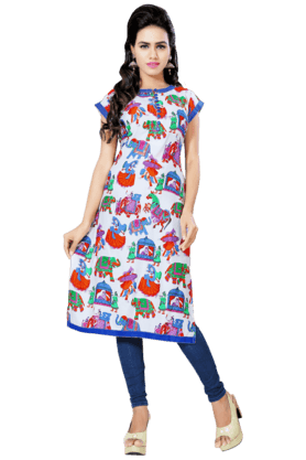 DEMARCA Womens Printed Kurta (Buy Any Demarca Product & Get A Pair Of Matching Earrings Free) - 200936938