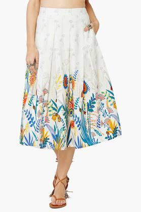 Women's Flora Print Box Pleat Skirt