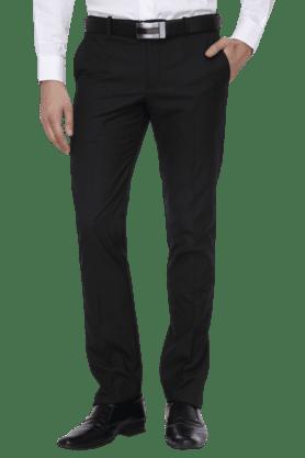 BLACKBERRYSMens Flat Front Slim Fit Solid Formal Trousers - 200889292