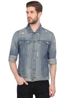 Mens Collared Mild Wash Distressed Jacket