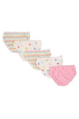 Girls Printed and Stripe Briefs Pack of 5