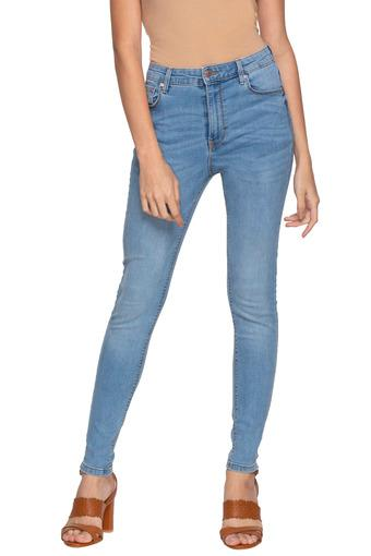 Womens 5 Pocket Mild Wash High Waist Jeans