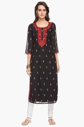 KASHISH Womens Round Neck Embroidered Printed Kurta