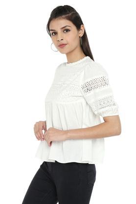 Womens Ruffled Collar Solid Crochet Top