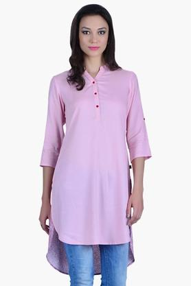 JUNIPER Womens Solid Front Printed Back Kurta  ...
