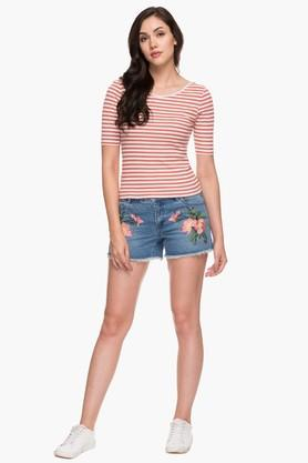 Womens 5 Pocket Assorted Embroidered Shorts