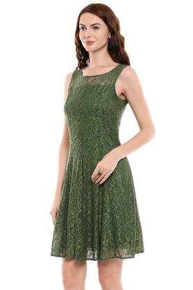 Womens Round Neck Lace Flared Dress