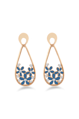 JAZZ Fashion Jewelrly Flower Design Jazz Jewellery Blue Drop Earrings