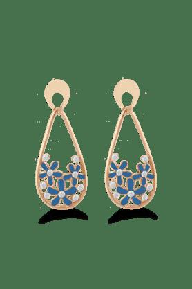 JAZZFashion Jewelrly Flower Design Jazz Jewellery Blue Drop Earrings