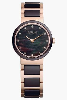 BERING Womens Ceramic Brown Round Analogue Watch 10725-765