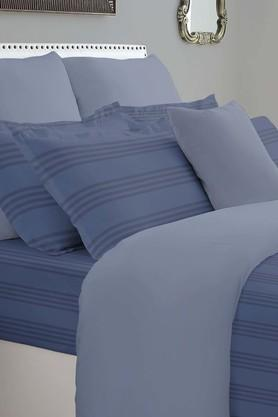 SPACESForever Classic Stripe Navy 400 TC Cotton King XL Bed Sheet With 4 Pillow Covers
