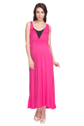 NINE MATERNITY Womens Comfort Fit Solid Maxi Dress