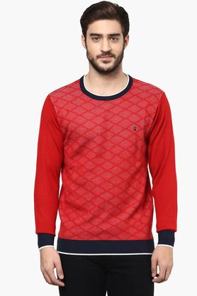 LOUIS PHILIPPE SPORTSMens Round Neck Printed Sweater