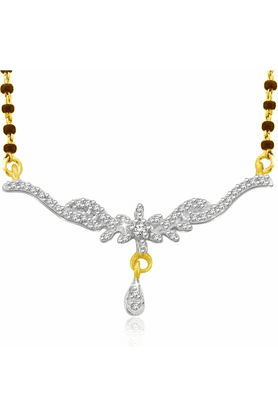 SPARKLES Gold Mangalsutra With Diamond Pendant Set N9251
