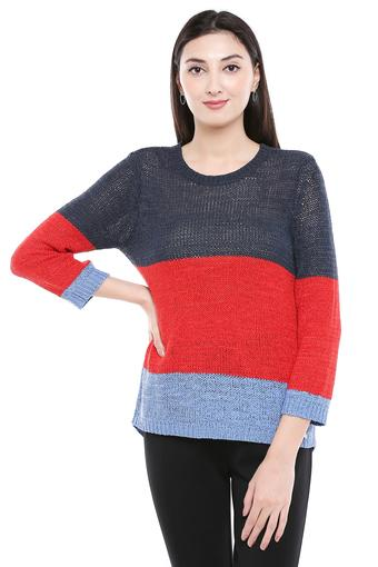 Womens Round Neck Colour Block Pullover