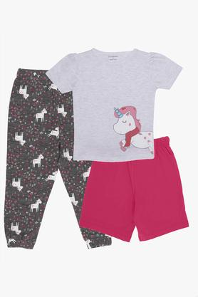 Girls Round Neck Unicorn Print Tee Joggers and Shorts Set