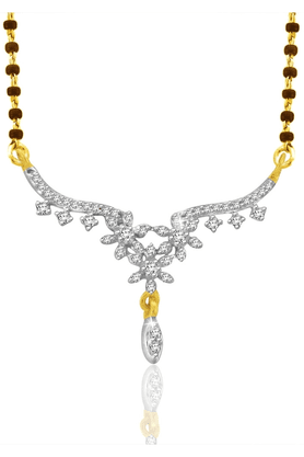 SPARKLES Gold Mangalsutra With Diamond Pendant Set N9258