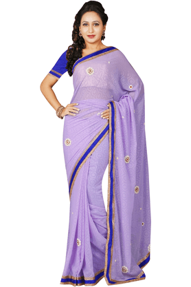 DEMARCAWomen Georgette Designer Saree (Buy Any Demarca Product & Get A Pair Of Matching Earrings Free)