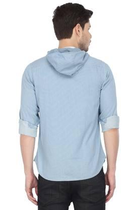 Mens Hooded Neck Striped Shirt