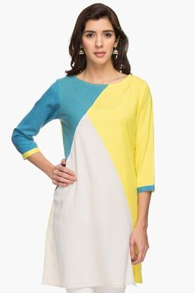 IMARA Womens Round Neck Colour Block Kurta