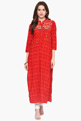 FUSION BEATS Womens Slim Fit Printed Kurta - 201553220