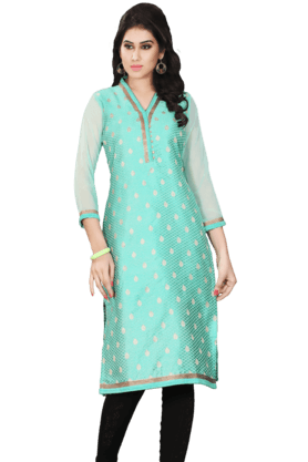 DEMARCA Womens Printed Kurta (Buy Any Demarca Product & Get A Pair Of Matching Earrings Free) - 200936907