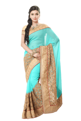 DEMARCA Women Georgette Saree (Buy Any Demarca Product & Get A Pair Of Matching Earrings Free) - 200875700