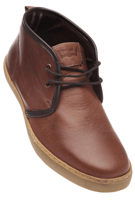 LEVISMens Brown Dry Milled Leather Casual Shoe