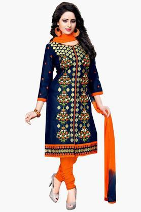 Women Cotton Embroidered Unstitched Salwar Suit Dress Material