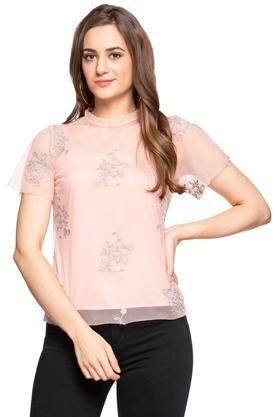 Womens Ruffled Collar Embroidered Sheer Top
