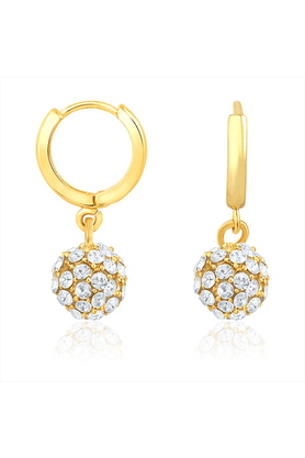 MAHIMahi Gold Plated Royal Gold Sparklers Earrings With Crystal Stones For Women ER1108372G