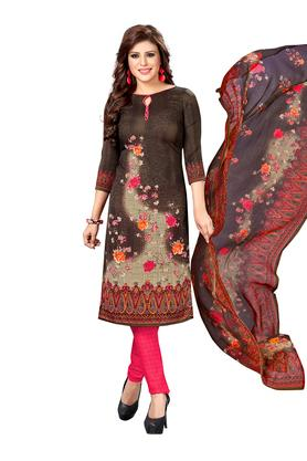 Womens Floral Printed Unstitched Churidar Suit Dress Material with Dupatta