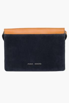 PHIVE RIVERS Womens Metallic Lock Closure Sling Bag