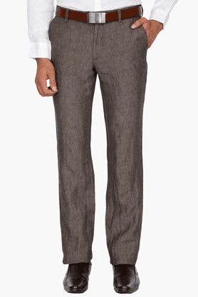 INDIAN TERRAIN Mens Slim Fit Slub Formal Trousers