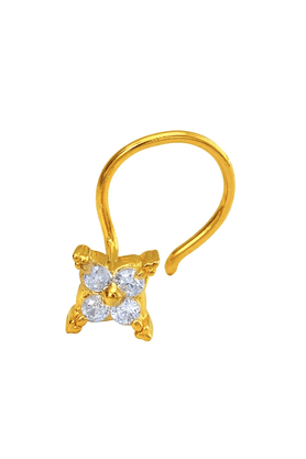 MAHIMahi Gold Plated FourFold Nosepin With CZ For Women NR1100143G