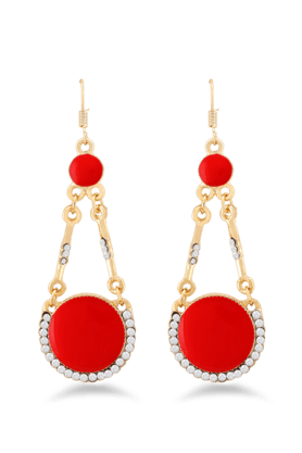 JAZZ Jazz Jewellery�Designer�Red�& White Stone�Brass Dangle�Earring