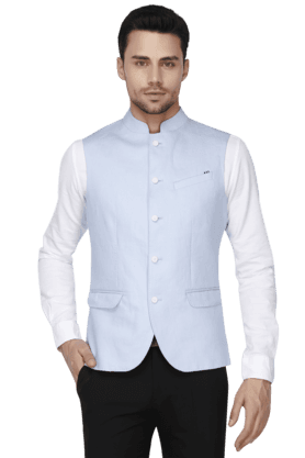 BLACKBERRYSMens Slim Fit Solid Sleeveless Nehru Jacket - 200559093