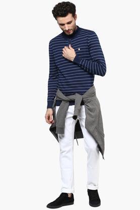 Mens High Neck Stripe Pullover