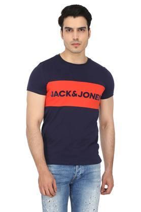 Mens Round Neck Colour Block T-Shirt
