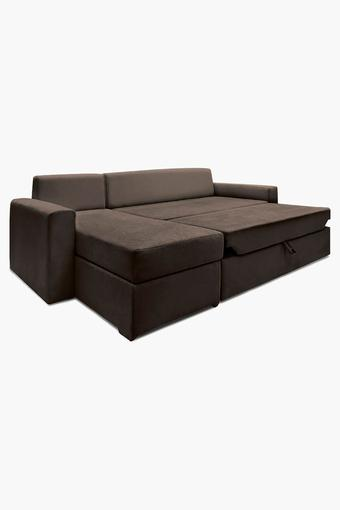 Earth Brown Fabric Sectional Sofa Bed (Lounger)