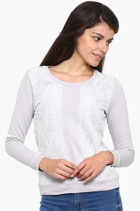 MYSTERE PARISWomens Lace-embellished Sweatshirt