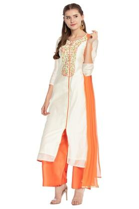 Womens Key Hole Neck Embroidered Palazzo Suit