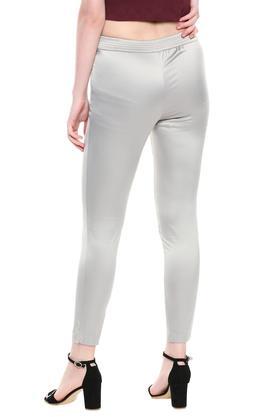 Womens Solid Shiny Pants