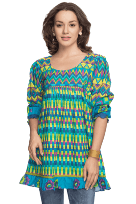 BOHEMYAN BLUE Women Cotton Short Kurta