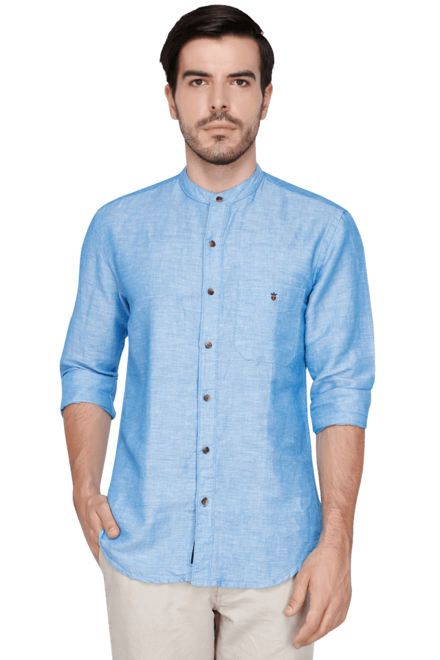 Mens Full Sleeves Slim Fit Casual Solid Shirt