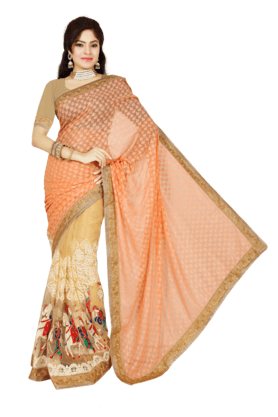 DEMARCA Womens Brasso Net Saree (Buy Any Demarca Product & Get A Pair Of Matching Earrings Free) - 200947039